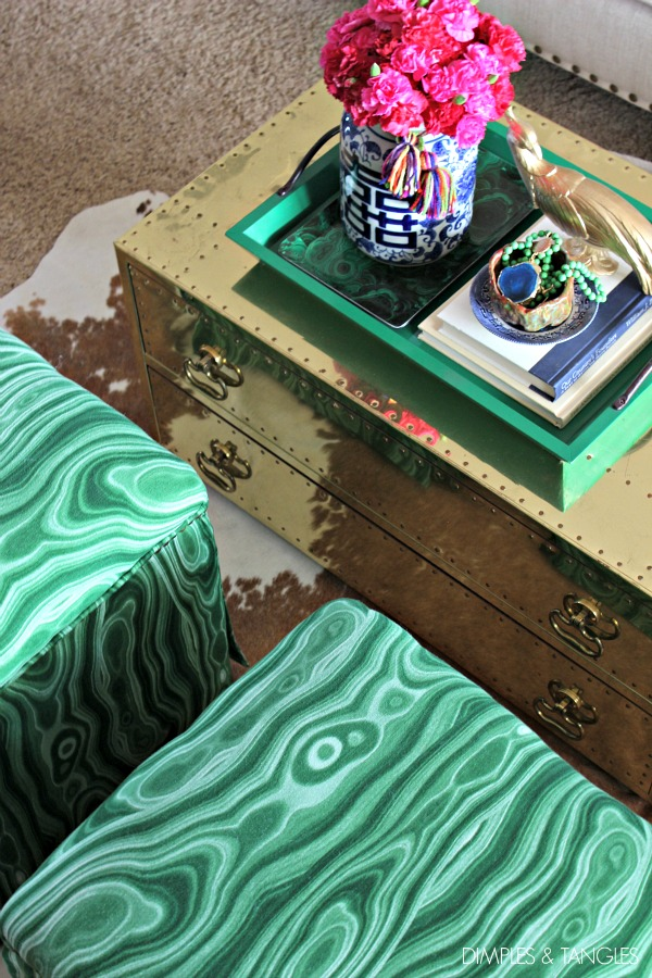 how to reupholster a footstool, Robert Allen Malakos malachite fabric, DIY ottoman makeover, brass trunk coffee table, accessory concierge agate necklace