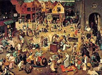 "Peter Bruegel Senior (1559): ""The fight between Carnival and Lent"""