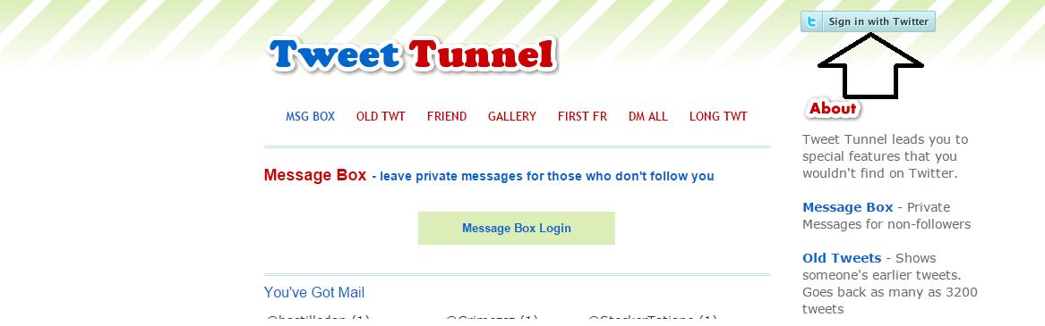 ولا نقوم بالدخول الى هذا الموقع http://tweettunnel.info/