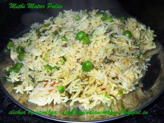 indian rice recipe made with fenugreek leaves and green peas, healthy recipe