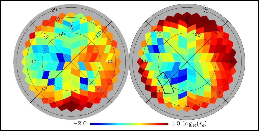 Planck's full-sky map grades regions of lower (blue) and higher (red) interstellar dust — and shows that the patch observed by the BICEP2 telescope (rectangle) was not among the least dusty. The left panel shows the northern Galactic hemisphere and the right panel shows the southern one. Credit: Planck Collaboration