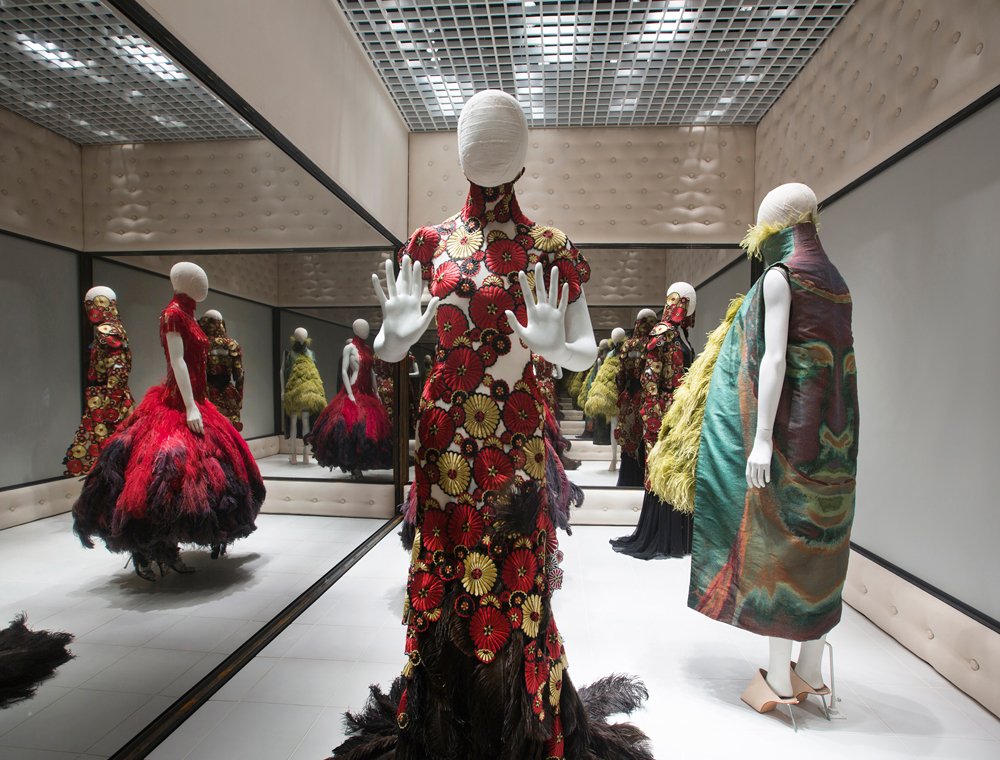 "Installation view of ""Romantic Exoticism"" gallery / Voss / Alexander McQueen savage beauty exhibition Victoria & Albert Museum / V&A London / via fashioned by love British fashion blog"