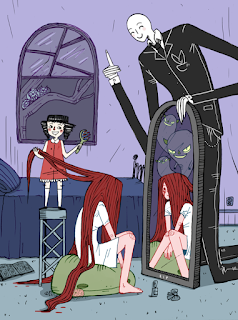 Digital, children's book, slenderman, bloodymary, scary, fun