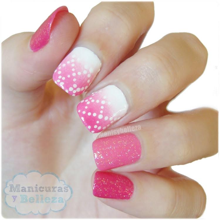 Nail art degradado rosa rombos puntos