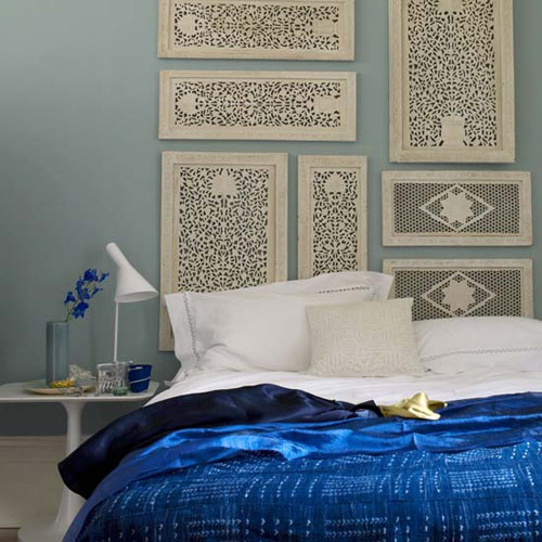 Moroccan Style Bedroom with White Headboard