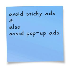 sticky ads and pop-up ads