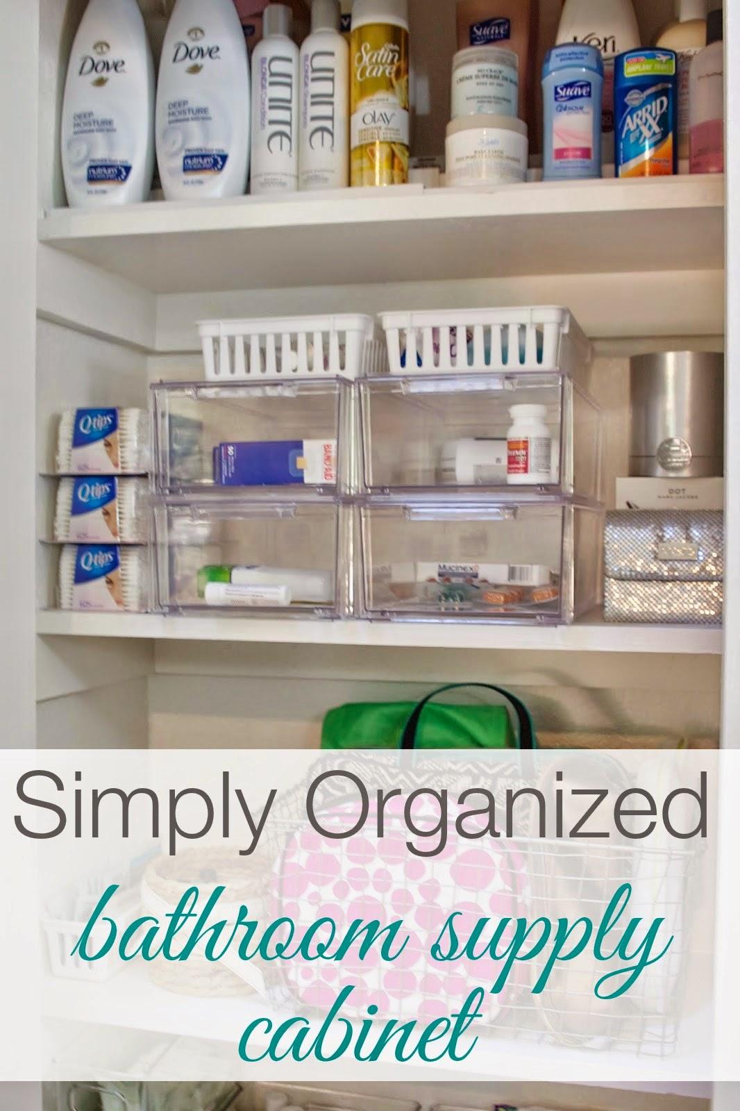 simply organized organized bathroom supply cabinet