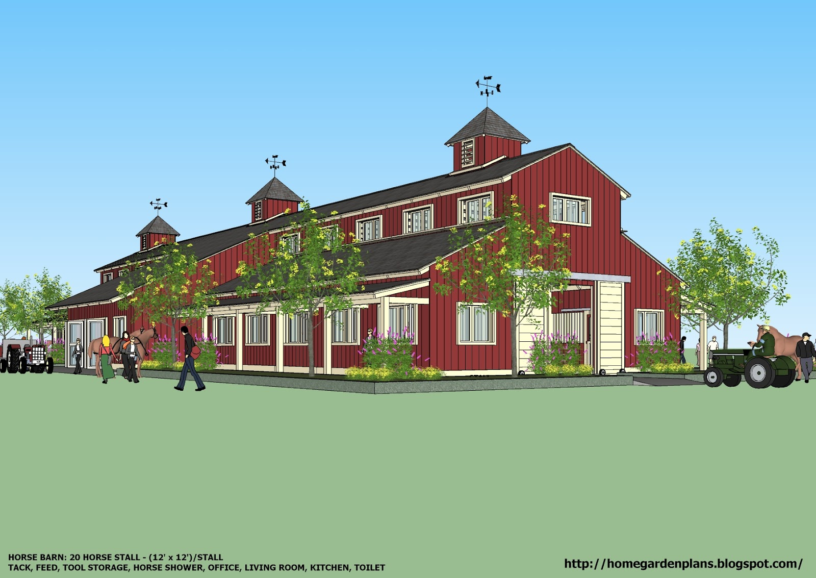 Home garden plans horse barns for Barn plans