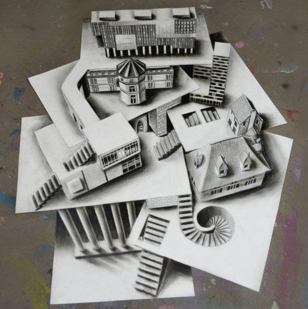 Anamórficas Ilustraciones en 3D de Ramon Bruin son aún más extravagantes con la ilusión de multiples capas