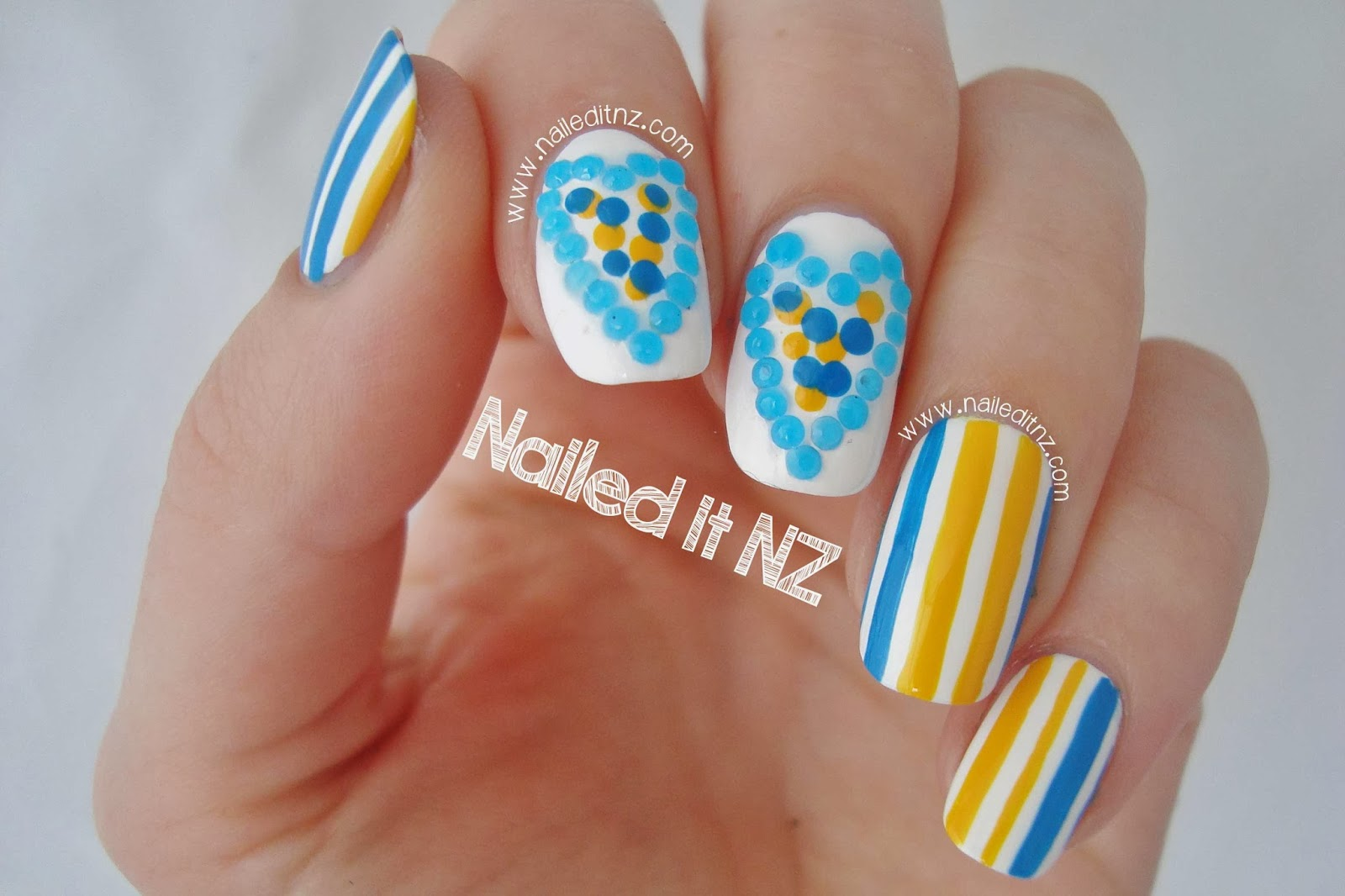 Hearts Stripes Nail Art With Blue Rhinestones