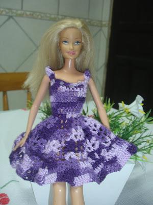 Vestido para Barbie em crochê Lilás