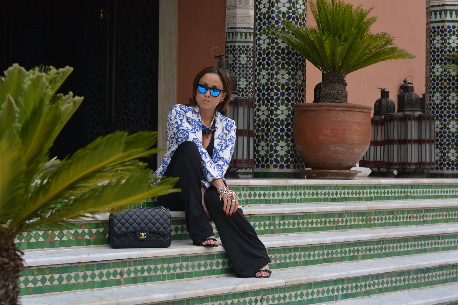 I was wearing: Jumpsuit: Oasap Blazer, Necklace & Sandals: ZaraBag: Chanel Sunglasses: Hawkers.co