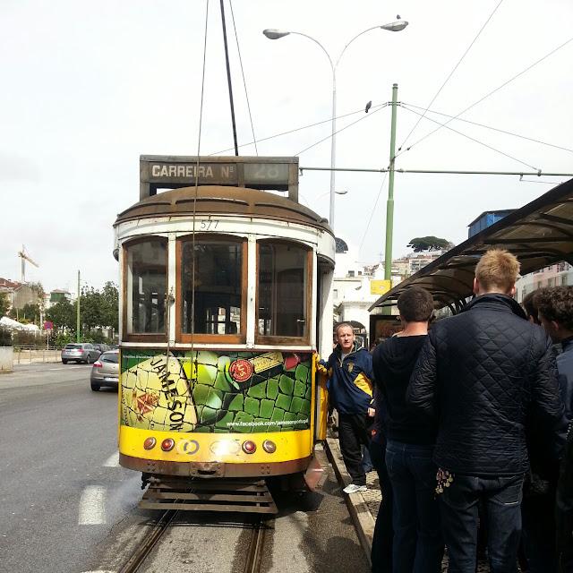 Line for Tram #28 Lisbon Portugal