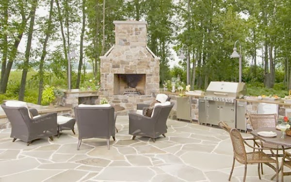 outdoor grill and fire pit