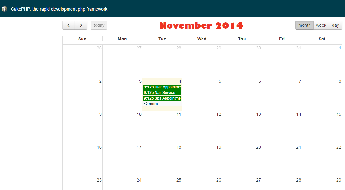 How to display Fullcalendar event details in a popup using CakePHP