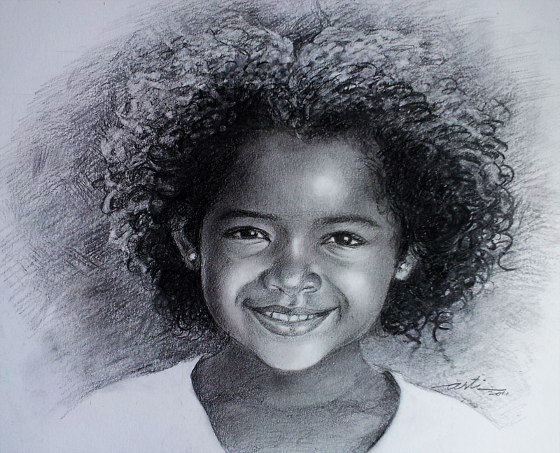 Little girl pencil and charcoal sketch