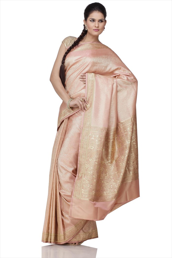 Tender Peach Art Kattan Silk Banarasi Saree
