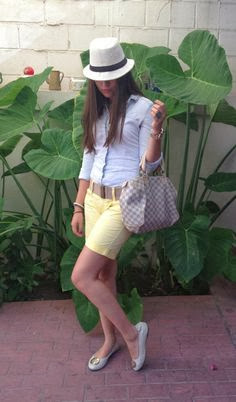 White Hat, Yellow Short, Light Blue Skirt with Amazing Handbag and TOMS Shoes
