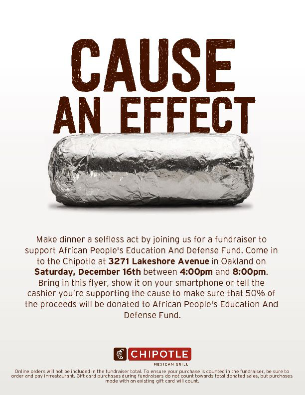 This Saturday! From 4-8 pm Chipotle on Lakeshore will donate 50% of your purchase to APEDF!