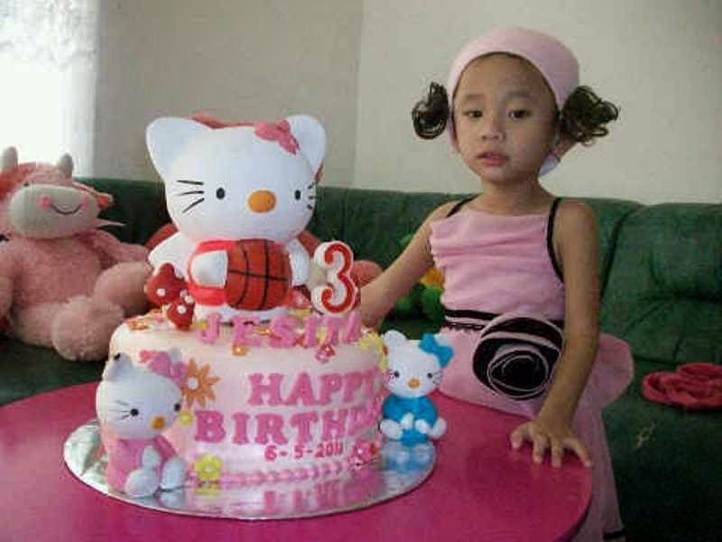 Gambar bayi merayakan ulang tahun tema hello kitty