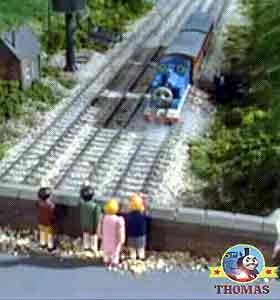 Railway station stop Thomas the tank engine Annie and Clarabel phone line engineers of at the bridge