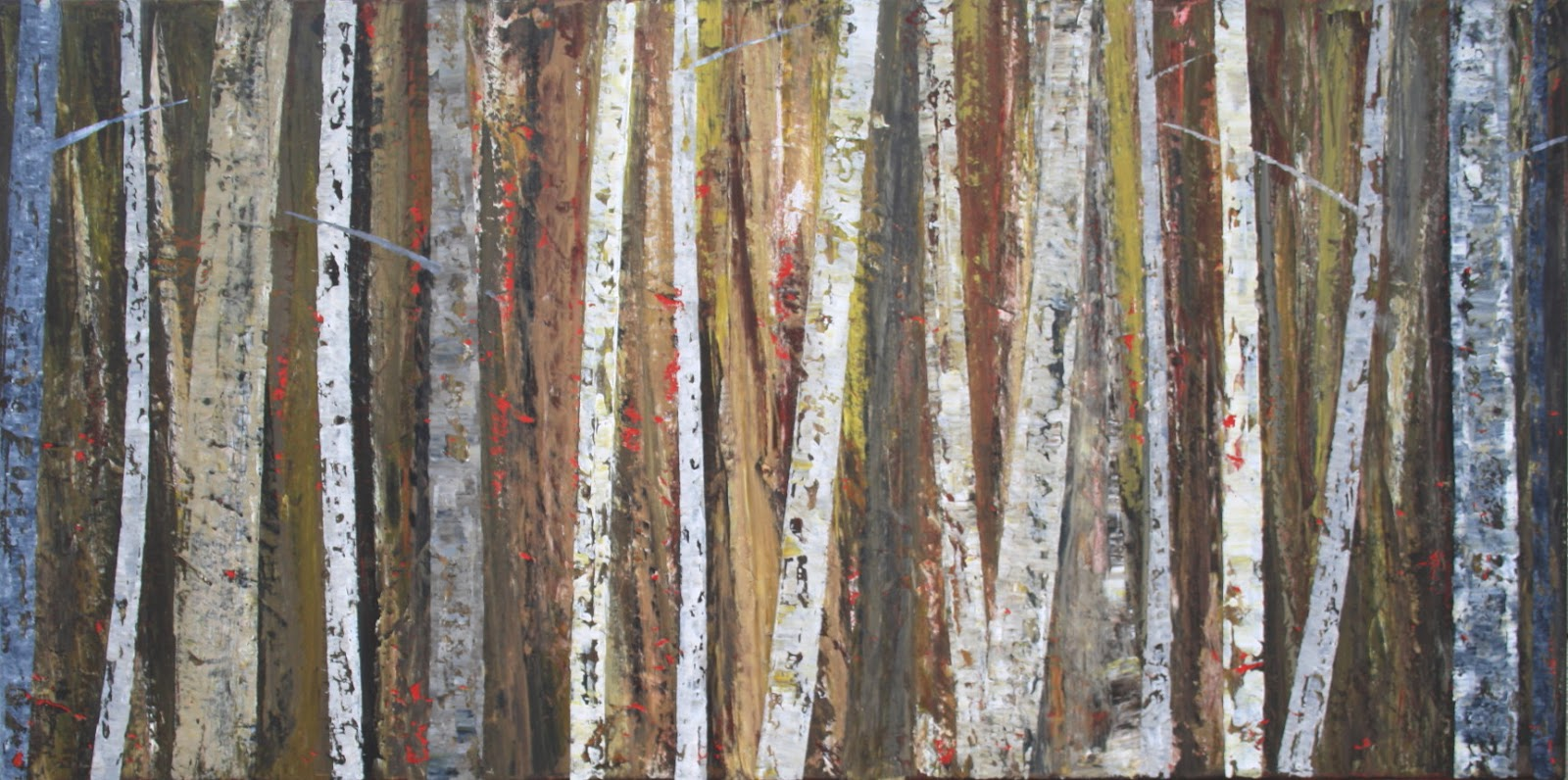 Sage mountain studio abstract birch tree painting ghost