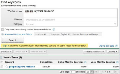 How to keyword research - find out number of monthly searches for specific term with Google AdWords Keyword Tool