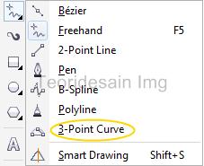 menggunakan 3-point curve tool untuk membuat garis 1