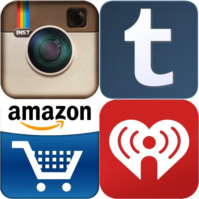 Instagram, Tumblr, Amazon, iHeartRadio