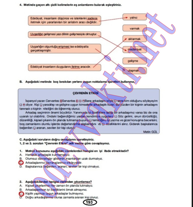 Türkçe dersi çalışma kitabı cevabı meb yayınları sayfa 193