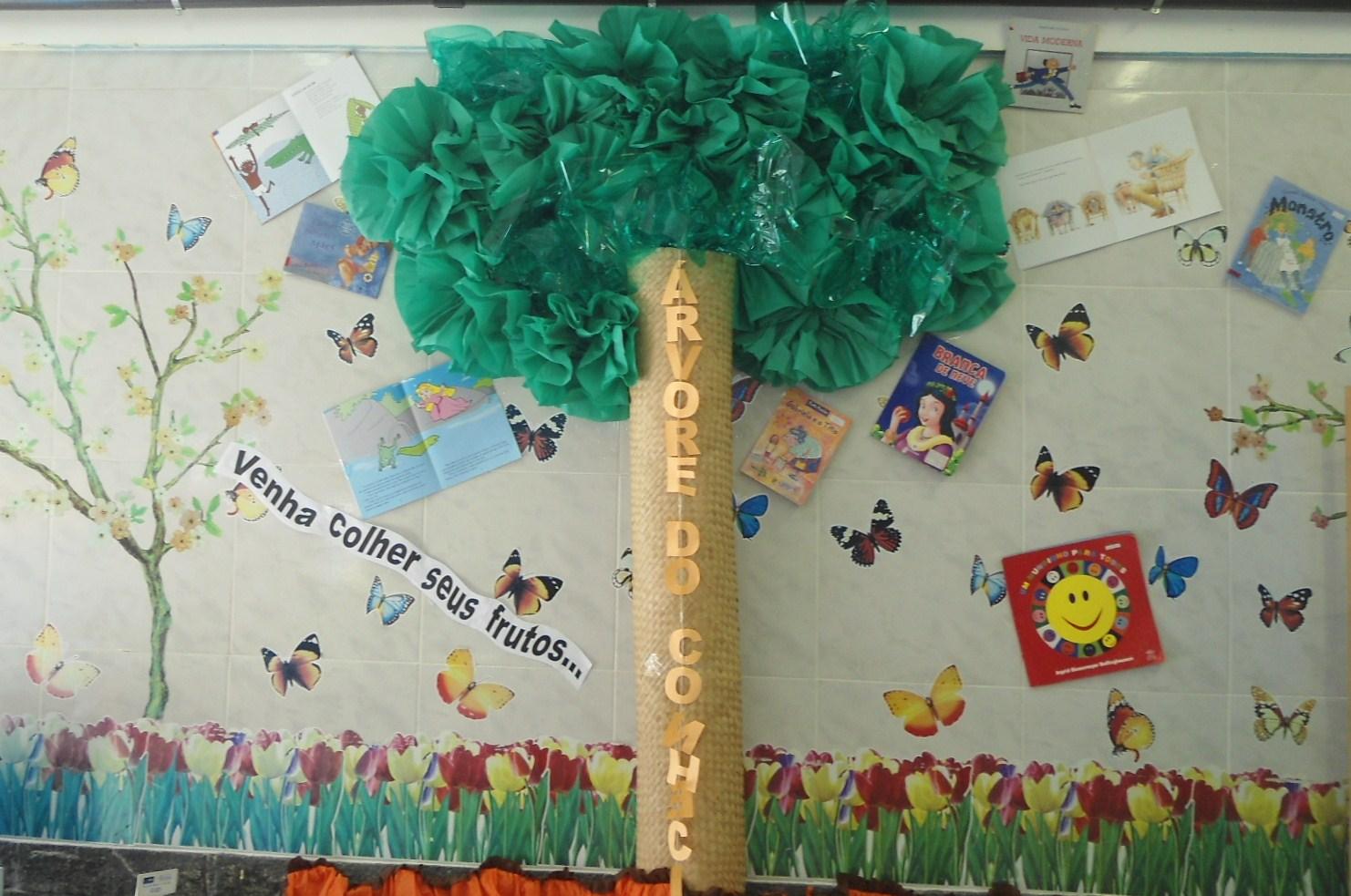 decoracao sala de leitura na escola:livros teatro de fantoche cantinho para leitura e tapete alfabético