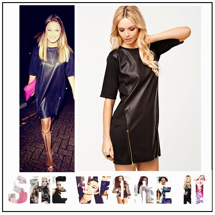 The Only Way Is Essex, Sam Faiers, River Island, Leather Look, PU, Mini Dress, T-Shirt Dress, Short Sleeves, Round Neckline, Black
