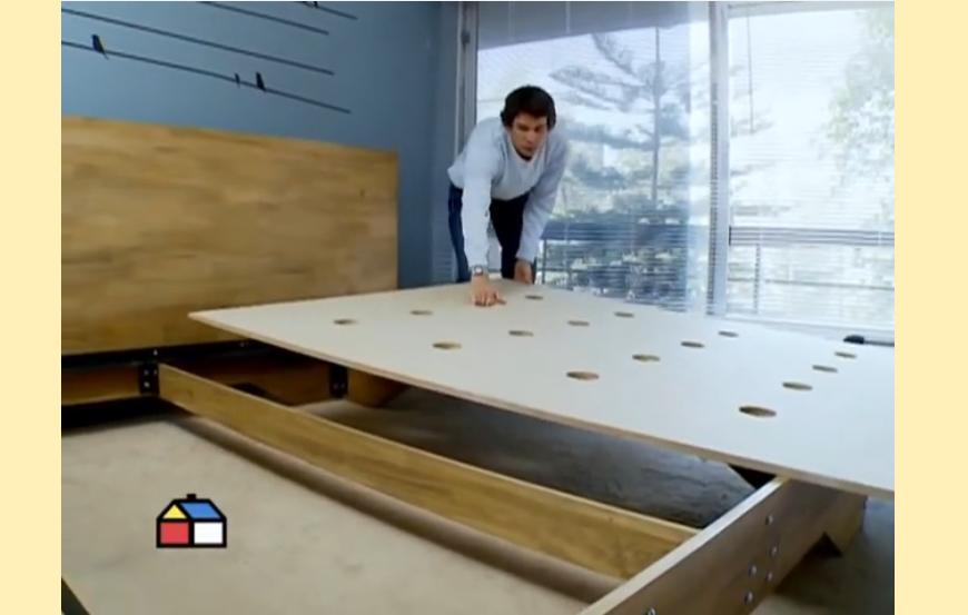 Como hacer una cama de 2 plazas de madera pino h galo for Como hacer una base de cama