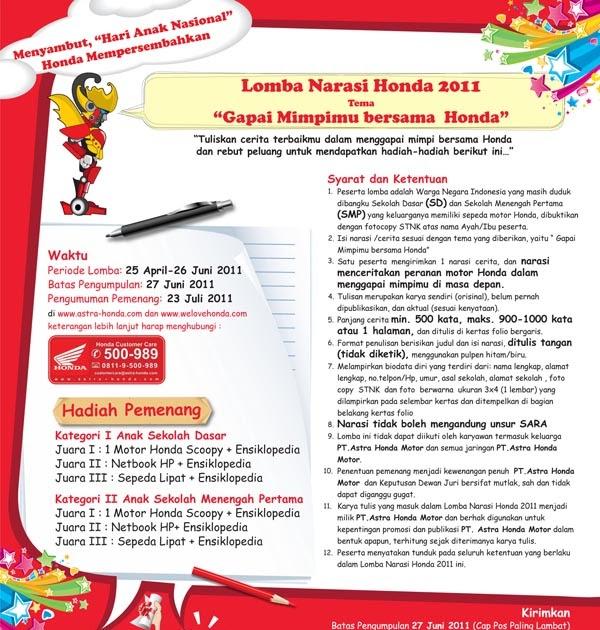 Puisi Mifda Lomba Narasi Honda Gapai Mimpimu Bersama Honda