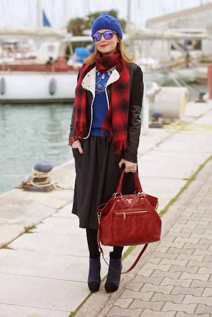 blue beanie, H&M plaid scarf, Love Moschino sweater, pinstripe midi skirt, Fashion and Cookies, fashion blogger