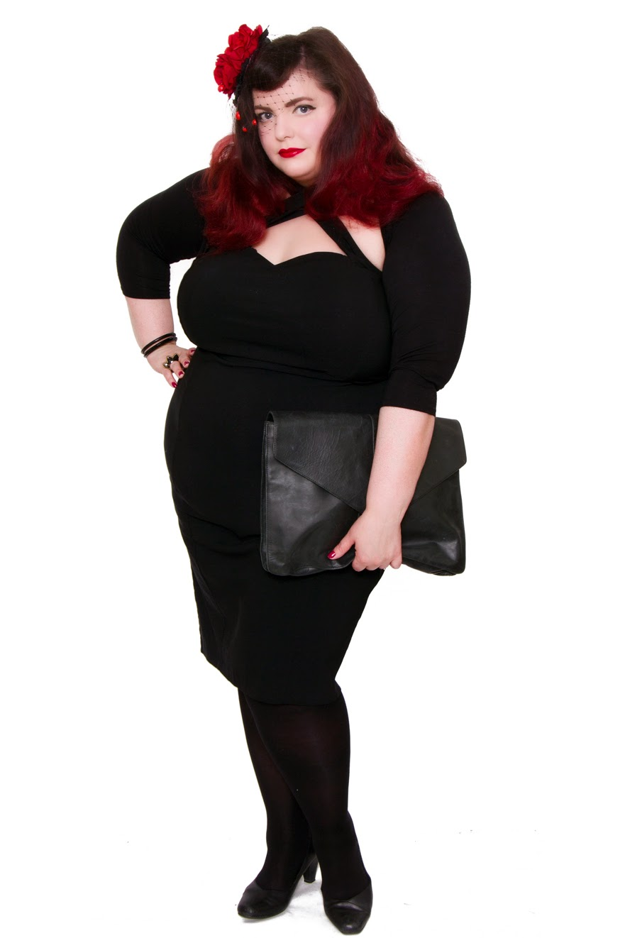 Plus Size Black Penny Pencil Dress from Collectif