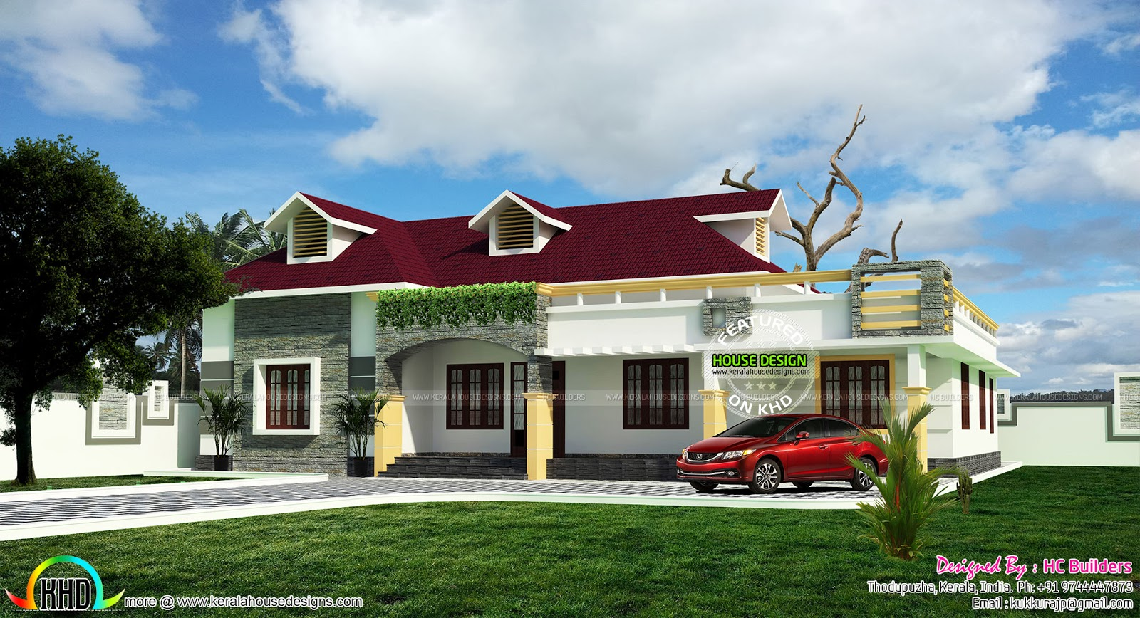 Single Floor House Plan By HC Builders, Kerala