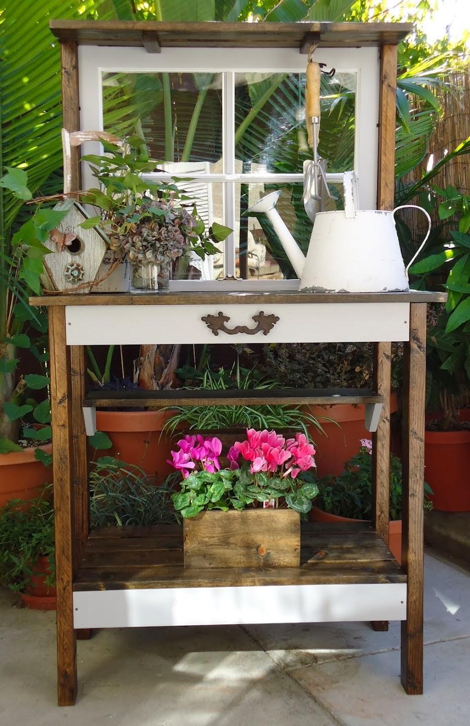 Vintage Window Potting Table - SOLD