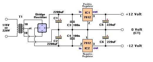 12 Volts Dual Voltage Power Supply Circuit Diagram Project Free