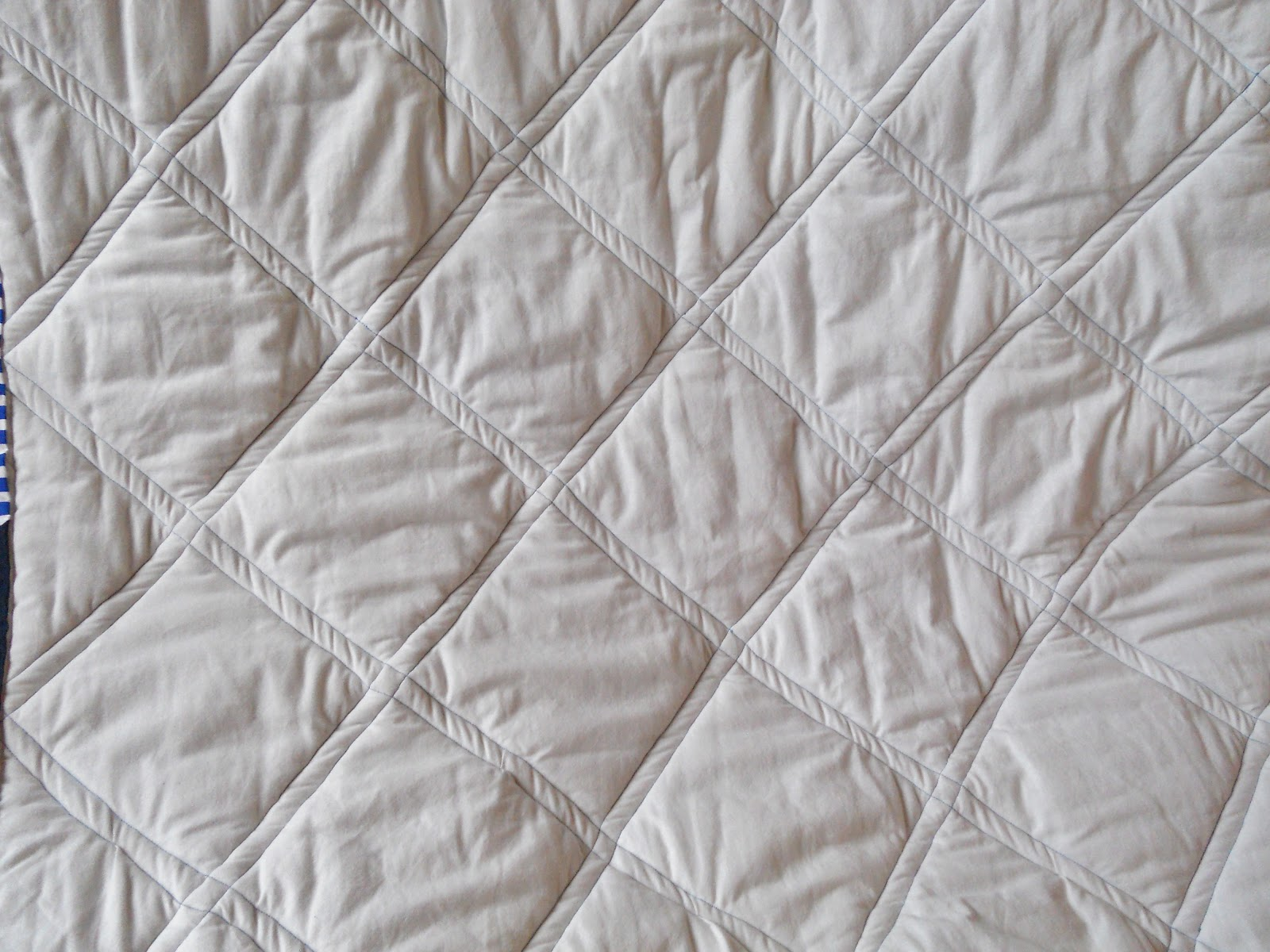 Bed sheet patterns for sewing - I Used A White Bed Sheet For The Backing It Has A Lovely Soft Texture For Snuggling Under For The Quilting I Used White For My Top Thread And Blue On The