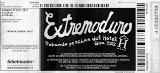 entrada de concierto de extremoduro de la gira robando perchas del hotel