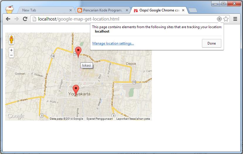 Mendapatkan Lokasi GPS Pengunjung Web dan Menampilkan Lokasi Latitude Longitude dari Web Browser di Google Map