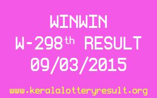 WINWIN W 298 Lottery Result 9-3-2015
