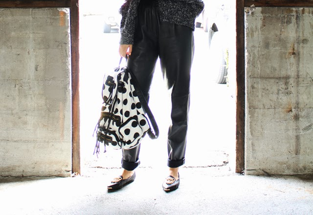 Vancouver fashion blogger Jasmine Zhu wearing vintage leather pants and shoes and backpack from Necessary Clothing