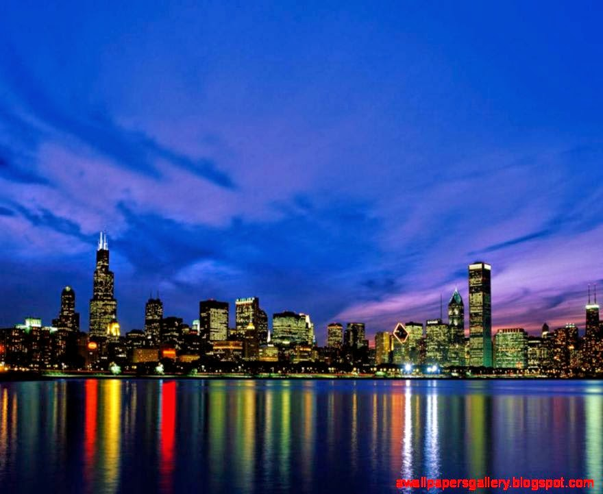 Chicago sunset skyline photography wallpaper wallpapers gallery - Skyline night wallpaper ...