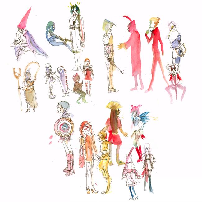 "shiho nakaza ""los angeles"" sketching people costume cosplay wondercon watercolor pen"