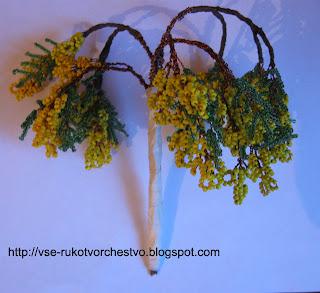 Дерево из бисера мимоза. Мастер-класс