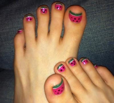 watermelon, nail art, toes, pink, green