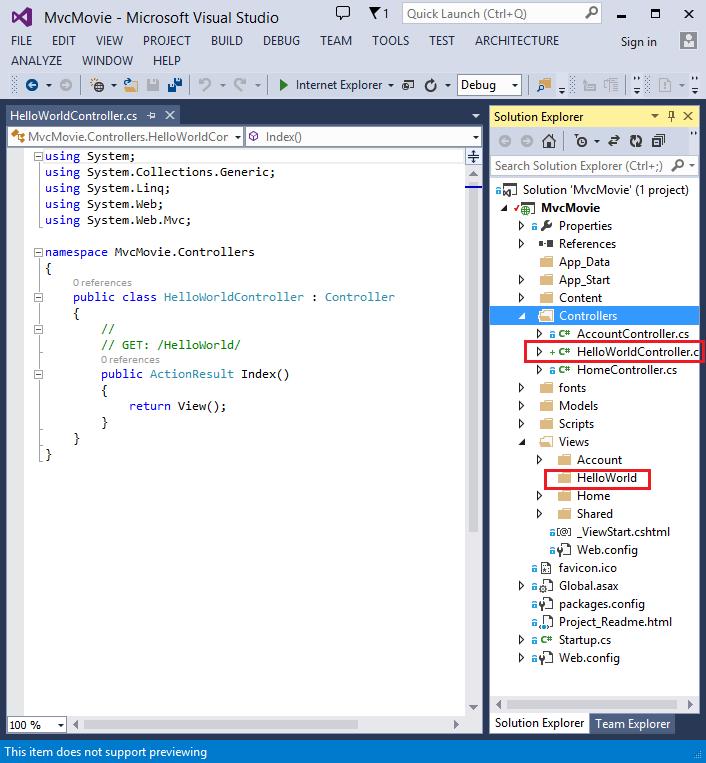 Adding a Controller in ASP.NET MVC 5 Application-Controller Class