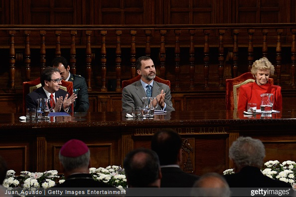 Alcala University President Fernando Galvan Reula, King King Felipe VI of Spain and People Defender Soledad Becerril attend the 6th King of Spain Human Rights Award to Adoratrices Esclavas del Santisimo Sacramento y de la Caridad at the Alcala de Henares University